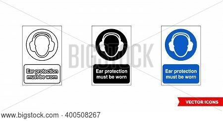 Mandatory Signs Ear Protection Must Be Worn Icon Of 3 Types Color, Black And White, Outline. Isolate