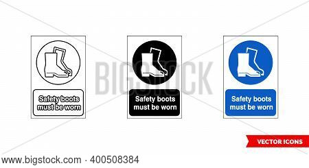 Mandatory Signs Safety Boots Must Be Worn Icon Of 3 Types Color, Black And White, Outline. Isolated