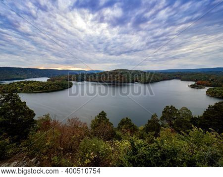Beautiful Hawn's Overlook Of Raystown Lake In The Mountains Of Pennsylvania, Right Before Sunset Wit