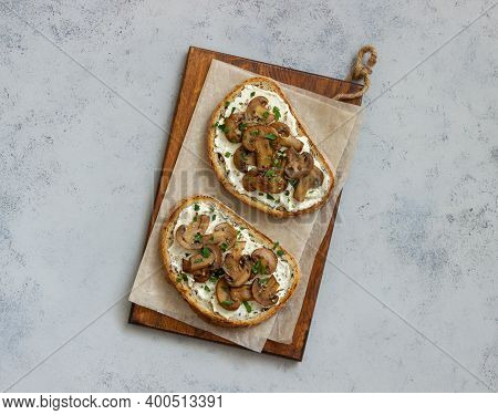 Bruschetta With Mushrooms And White Cheese. Healthy Eating. Vegetarian Food.