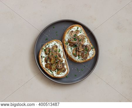 Bruschetta With Mushrooms And White Cheese. Healthy Eating. Vegetarian Food