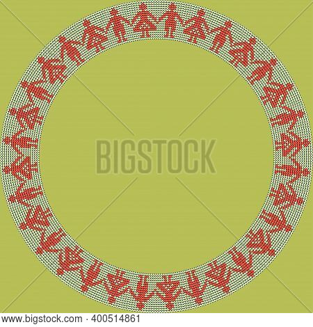 Norwegian Traditional Ornament. Round Frame With Anthropomorphic Ornament. Knitting Pattern. Vector.