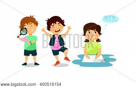 Little Children Engaged In Different Activity And Behavior Vector Set