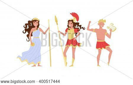 Greek Gods And Goddess With Ares Holding Spear And Apollo With Harp Vector Set