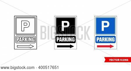 Construction Mandatory Sign Parking Icon Of 3 Types Color, Black And White, Outline. Isolated Vector