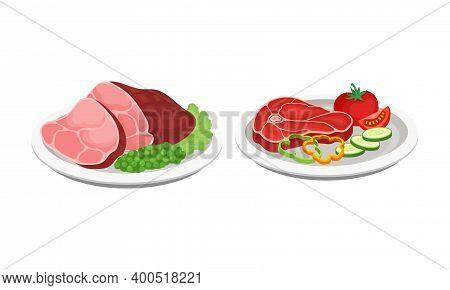 Beef Steak And Slab Garnished With Vegetables As Barbeque Food Served On Plate Vector Set