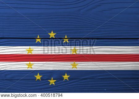 Flag Of Cape Verde On Wooden Wall Background. Grunge Cape Verde Flag Texture, Blue White And Red Col