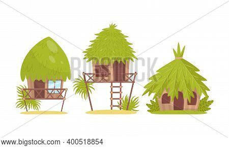 Huts And Bungalow With Roof Of Green Palm Leaves As Tropical Jungle Landscape Elements Vector Set
