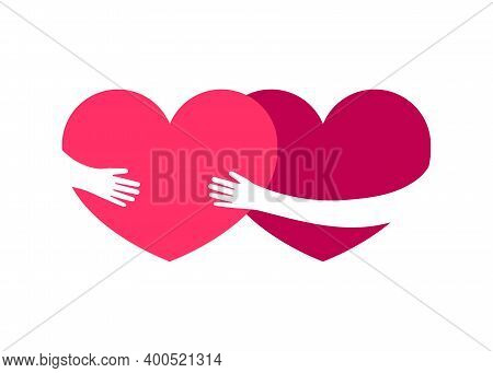 Love Heart, Heart Hug Couple. Hearts With Hugging Hands. Help, Care, Support Together Vector