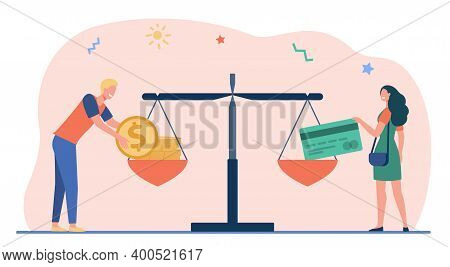 Cash And Credit Card Comparison. Man And Woman Putting Money And Card On Balance Scale Flat Vector I