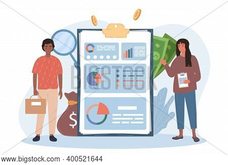 Male And Female Characters Making Accounting And Audit. Man And Woman Standing Next To Clipboard Wit