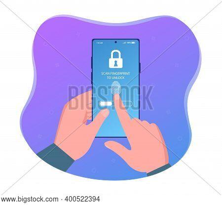 Hands Holding Smartphone And Identification Scanning With Finger. Concept Of Under Screen Fingerprin