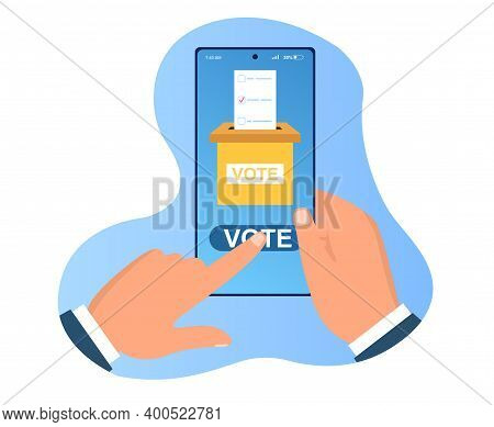 Hands Holding Smartphone With Voting App On Screen. Concept Of Online Voting Application To Vote Fro