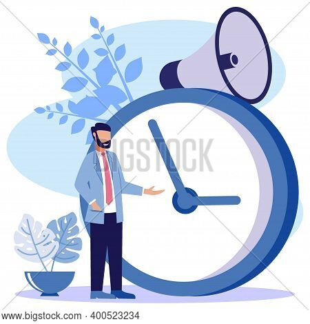 Vector Illustration Of Business Concept, Business People With Clock On White Background, Express Ser