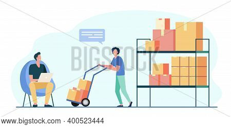 Warehouse Workers Using Laptop And Carrying Boxes On Wheelbarrow. Box, Parcel, Cargo Flat Vector Ill