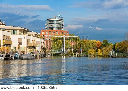 Berlin, Germany - October 24, 2020: Harbor Basin Tegeler Hafen With Buildings Of The Historical Mill