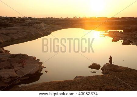 Sunrise At Sam Phan Bok Rock Canyon ,maekhong River, Ubonratchathani Province In Thailand .