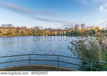 Berlin, Germany - November 12, 2020: Lake Schaefersee Named After An Earlier Shepherds Farm Settled