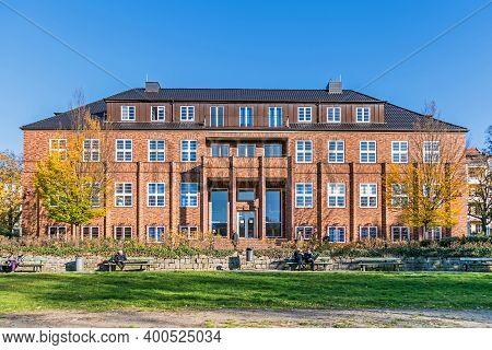 Berlin, Germany - November 7, 2020: Slightly Expressionistic Clinker Brick Administrative Building F