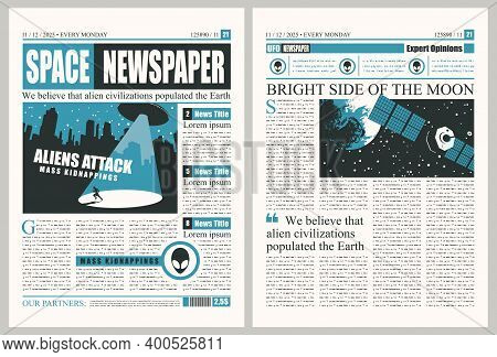 Space Newspaper With Illegible Text, Headlines And Illustrations On The Topic Of Extraterrestrial Ci