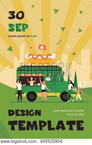 People Visiting Street Food Festival And Buying Snacks In Trucks. Flat Vector Illustration For Fair,