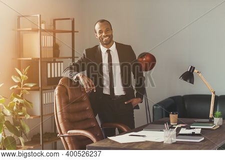 Portrait Of His He Nice Attractive Trendy Classy Chic Cheerful Cheery Executive Director Partner Hum