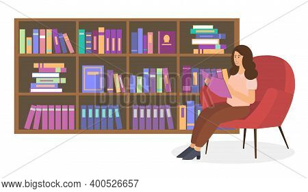 Female Character Is Sitting On A Chair In Room With Bookcase. Psychotherapist With Notepad In Hand W