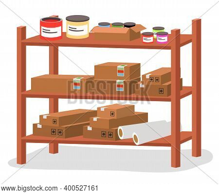 Racks With Boxes And Color Containers Cans With Dyes Or Paint, Printing House Tools Isolated Vector