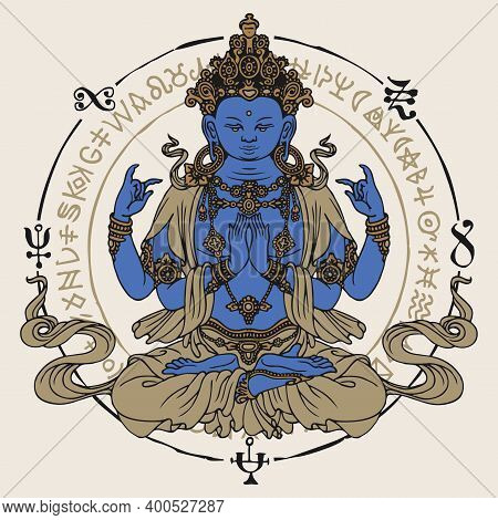 Banner With Hand-drawn Krishna Meditating In The Lotus Position. Decorative Vector Illustration Of A