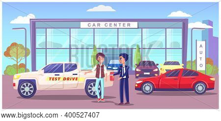 Car Center, Exhibition Pavilion, Showroom Building With Different Modern Automobiles, Man Seller Man