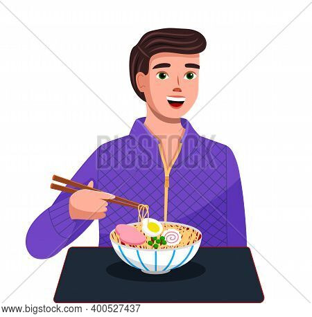 Young Man Eating Noodles With Chopsticks. Male Character Sitting At A Table With Plate Of Vermicelli