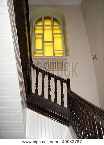 nice wooden stairs with window