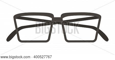 Glasses Isolated On White Background. Black-rimmed Square Glasses. An Item Designed To Enlarge The I
