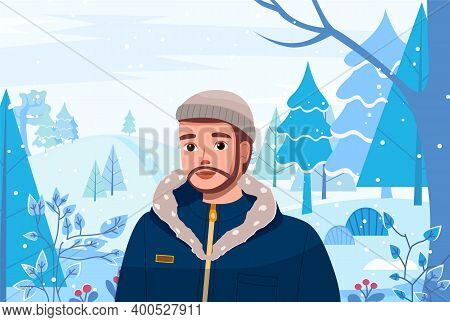 Man In Winter Snow Forest Landscape. Young Bearded Guy Vector Illustration In Flat Style Walk In Win