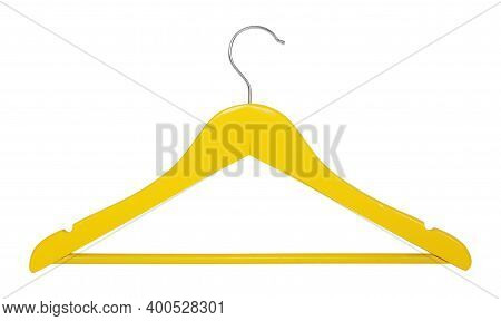 Clothes, Shoes And Accessories - Yellow Wooden Clothes Hangers Isolated On A White Background.