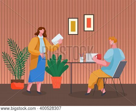 Office Workers Discussing Matters. Businesswomen Dressed In Formal Clothes In The Modern Office Inte