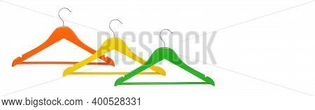 Clothes, Shoes And Accessories - Orange, Yellow And Green Wooden Clothes Hangers Isolated On A White
