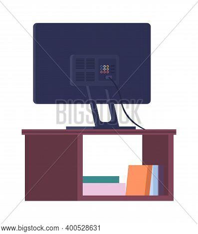 Tv On Stand. Wooden Shelf For The Tv Vector Illustration. Living Room Interior Design Element Big Ta
