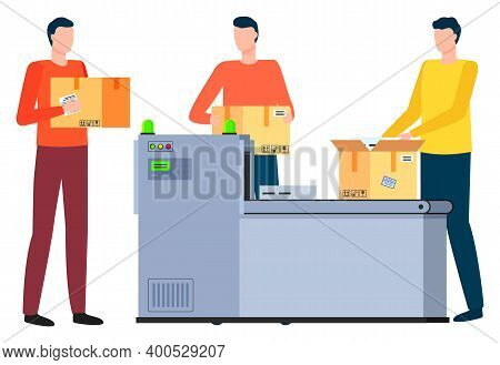 Man With Carton Boxes Working In Logistics Company. Isolated Workers With Containers, Dealing With O