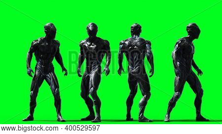 Military Alien Soldier Isolate On Green Screen. 3d Rendering.
