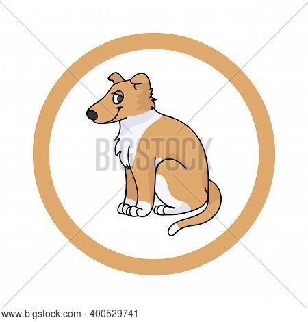Cute Cartoon Smooth Collie In Dotty Circle Puppy Vector Clipart. Pedigree Kennel Doggie Breed For Ke