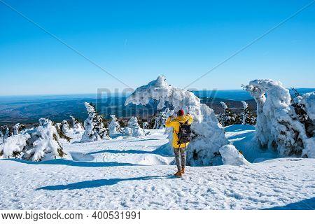 Harz National Park Germany, Brocken Through Winter Landscape, Winter Mountain . Brocken, Harz Nation