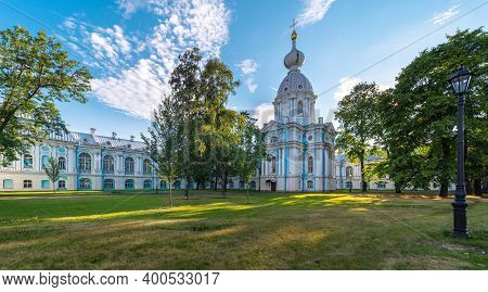 Saint Petersburg, Russia - 08 20 2018: Smolny Convent Of The Resurrection Cathedral, The Interior Co