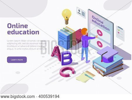 Online Education Isometric Landing Page, Web Banner. Student Learning Distant Video Tutorials Via We
