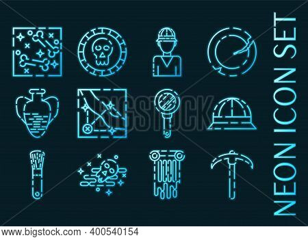 Set Of Archeology Blue Glowing Neon Icons.