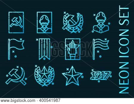 Set Of Communism Blue Glowing Neon Icons
