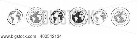Earth Icons. Dotted Icons Style. World International Earth Globe Icon Set. Linear Style. Vector Illu