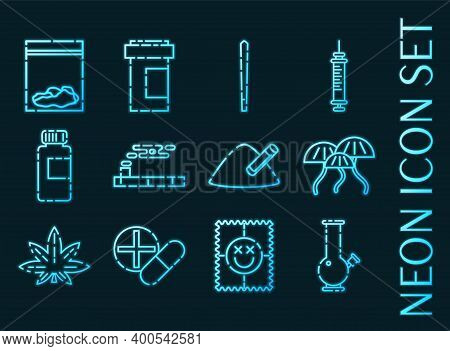 Set Of Drugs Blue Glowing Neon Icons