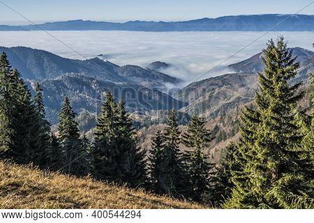 Big Fatra Mountains And Turiec Basin, Slovak Republic. Travel Destination. Inverse Weather Scene.