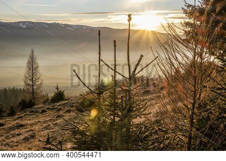 Sunset Scene, Helpa Village, Slovak Republic. Seasonal Natural Scene.